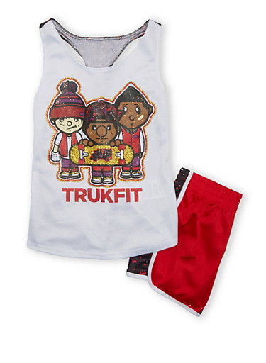 Girls 7-12 Trukfit Graphic Tank Top With Matching Shorts Set,WHITE,large