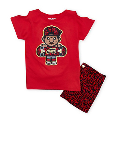 Girls 2T-12 Red Trukfit Graphic Cold Shoulder Tee and Matching Shorts Set,RED,large