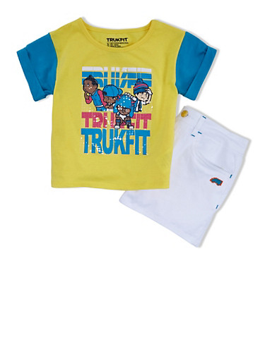 Girls 7-12 Trukfit Sequined Graphic Tee and Denim Shorts Set,YELLOW,large