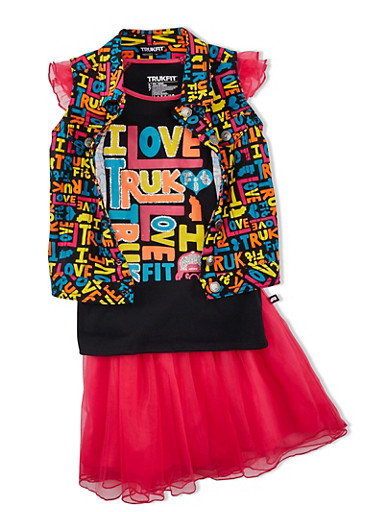 Girls 7-12 Trukfit Graphic Top with Colorful Print Vest and Tulle Skirt Set,FUCHSIA,large