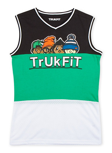 Boys 8-20 Trukfit Color Block Graphic Top with Mesh Panel,GREEN,large