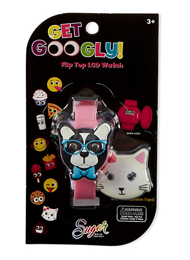 Kids Googly Eyed Dog Watch with Interchangeable Top,MULTI COLOR,large