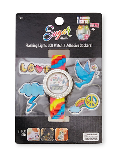 LCD Light Up Watch and Stickers with Peace Love Music Graphic,MULTI COLOR,large