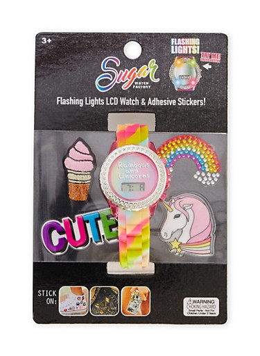 LCD Watch and Sticker Set with Rainbows and Unicorns Print,MULTI COLOR,large