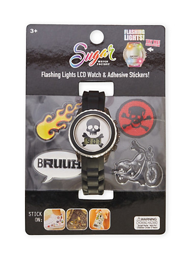 Skull LCD Watch with Assorted Stickers and Patches,MULTI COLOR,large