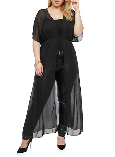 Plus Size Sheer Tie Front Duster,BLACK,large