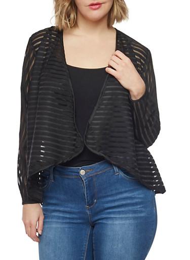 Plus Size Shadow Stripe Open Front Blazer,BLACK,large