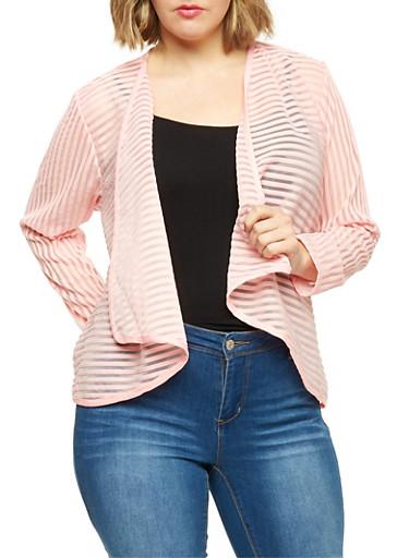 Plus Size Shadow Stripe Open Front Blazer,BLUSH,large