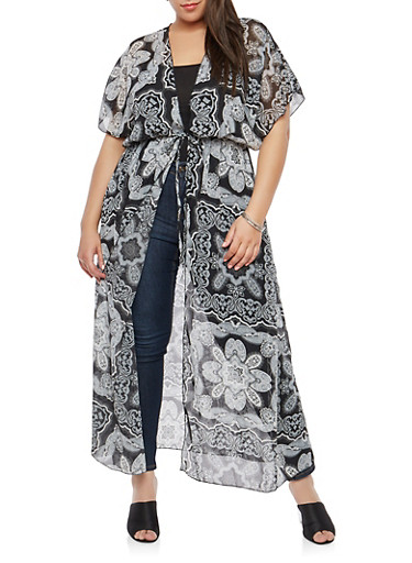 Plus Size Printed Sheer Maxi Duster,BLACK,large
