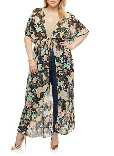 Plus Size Sheer Floral Maxi Duster,BLACK,large