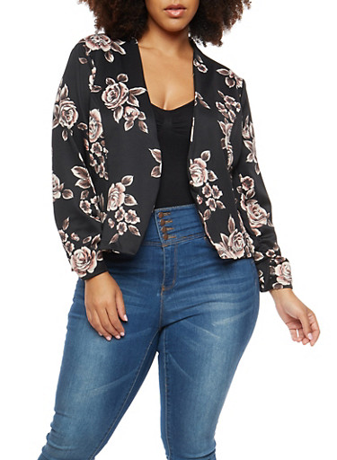 Plus Size Rose Blazer,BLACK,large