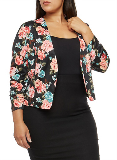 Plus Size Floral Ruched Sleeve Blazer,ROSE,large