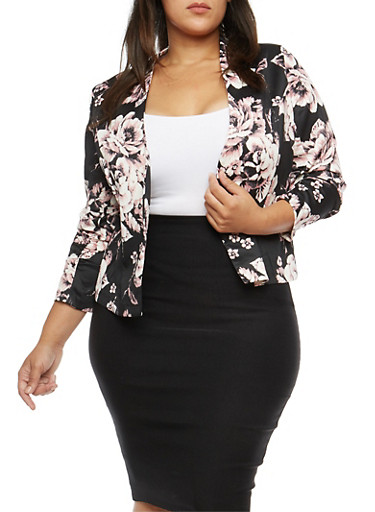 Plus Size Floral Ruched Sleeve Blazer,BLUSH,large