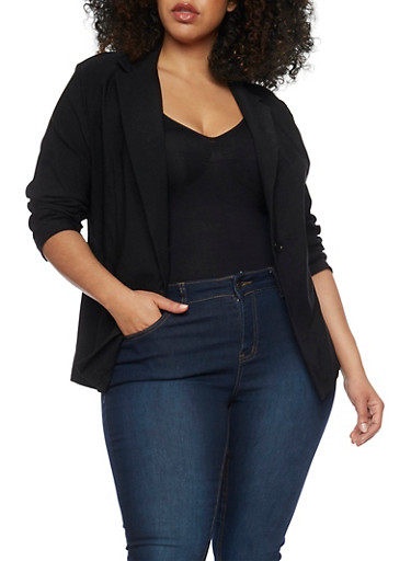 Plus Size Twill Blazer with Ruched Sleeves,BLACK,large