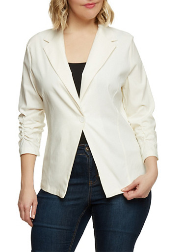 Plus Size Twill Blazer with Ruched Sleeves,IVORY,large