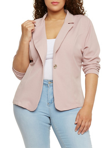 Plus Size Crepe Knit Single Button Blazer,MAUVE,large