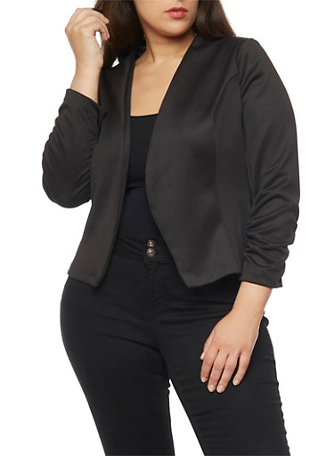 Plus Size Soft Knit Blazer with Ruched Sleeves,BLACK,large