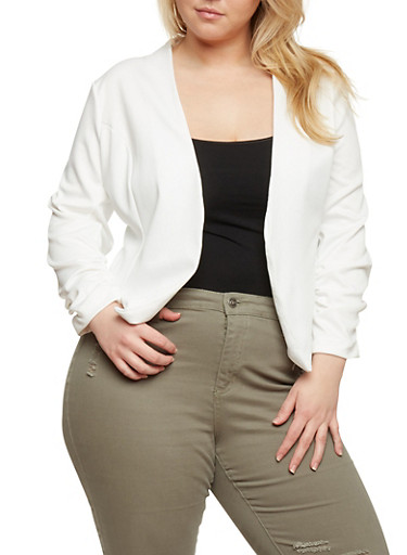 Plus Size Soft Knit Blazer with Ruched Sleeves,IVORY,large