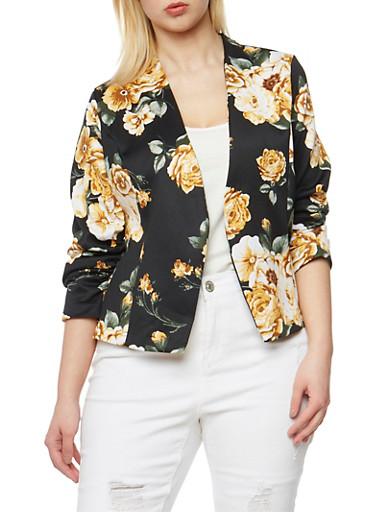 Plus Size Floral Open Front Blazer,MUSTARD  FS SE20206,large