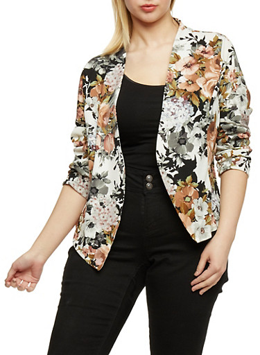 Plus Size Floral Long Sleeve Blazer,IVORY  F243,large