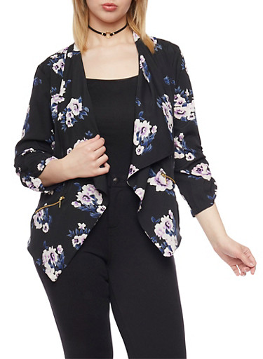 Plus Size Floral Draped Collar Blazer,BLACK/IVORY #560,large