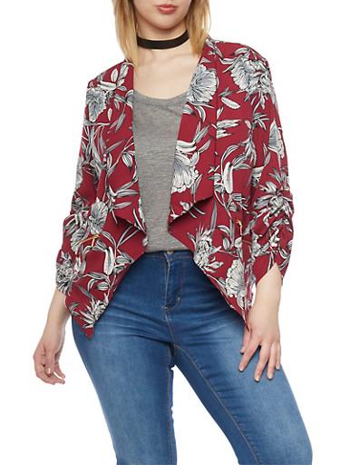 Plus Size Floral Draped Collar Blazer,BURGUNDY,large