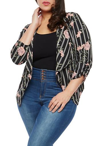 Plus Size Striped Floral Blazer,BLACK/MAUVE,large