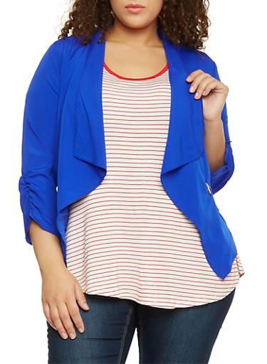Plus Size Open Front Draped Lapel Blazer,RYL BLUE,large
