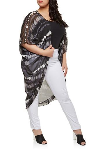 Plus Size Tie Dye Sheer Duster,BLACK,large