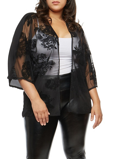 Plus Size Velvet Floral Front Mesh Kimono,BLACK   #L3425,large
