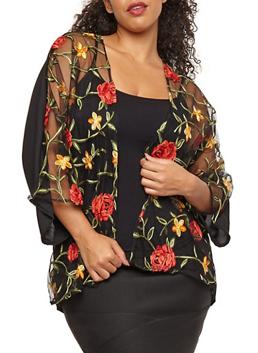 Plus Size Embroidered Mesh Front Cardigan,BLACK  #19432,large