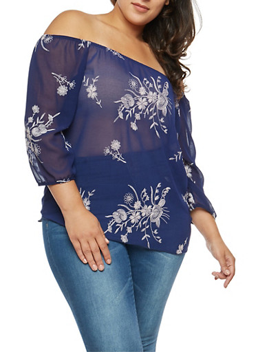 Plus Size Off the Shoulder Floral Embroidered Top,NAVY  # 19453,large
