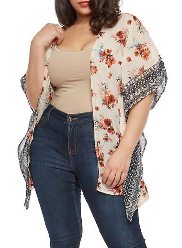 Plus Size Border Print Kimono,IVORY,large