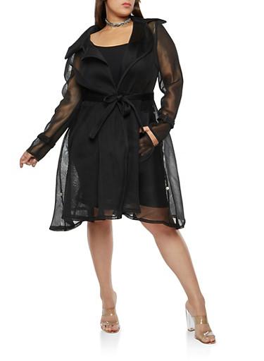 Plus Size Mesh Trench Coat,BLACK,large
