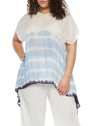 Plus Size Short Sleeve Tie Dye Top with High Low Hem and Back Split,NAVY,large