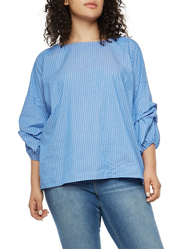Plus Size Striped Bubble Sleeve Top,BLUE,large