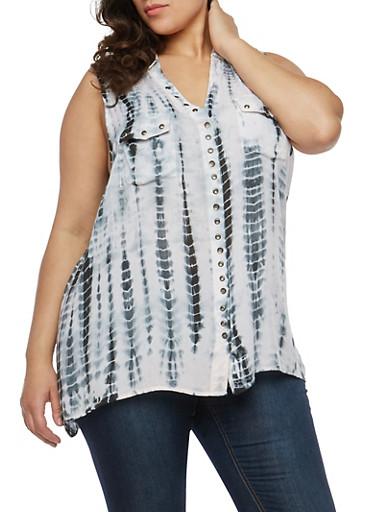 Plus Size Tie Dye Button Front Shirt,BLACK,large