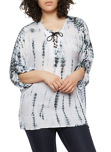 Plus Size Tie Dye Lace Up Top,BLACK,large