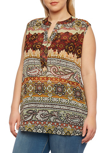 Plus Size Printed Sleeveless Top,CORAL,large