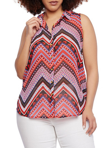 Plus Size Abstract Print Tank Top with Beaded Cutout Back,CORAL,large
