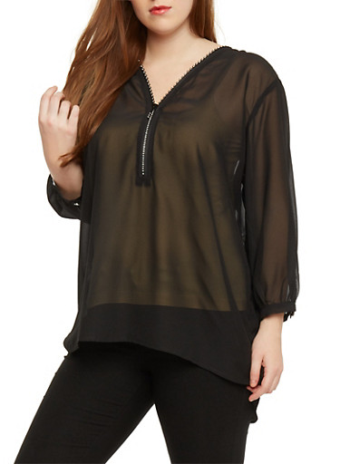 Plus Size Top with Studded Double Zipper,BLACK,large