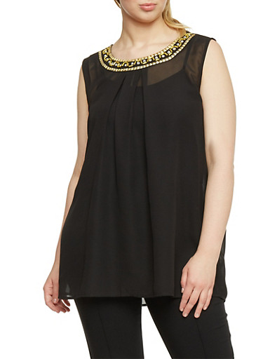 Plus Size Sleeveless Beaded Scoop Neck Top,BLACK,large
