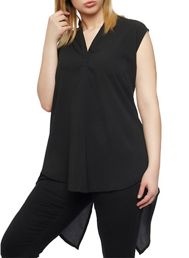 Plus Size Sleeveless High Low Top with Split Back,BLACK,large