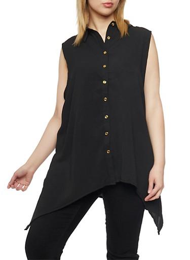 Plus Size Crepe Asymmetrical Top with Back Cutout,BLACK,large
