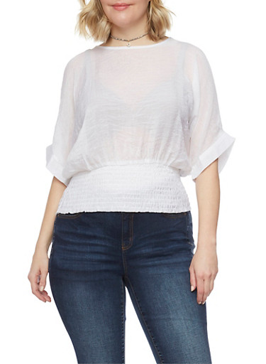 Plus Size Satin Cold Shoulder Top with Smocked Waist,WHITE,large