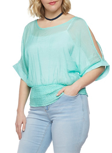 Plus Size Satin Cold Shoulder Top with Smocked Waist,MINT,large