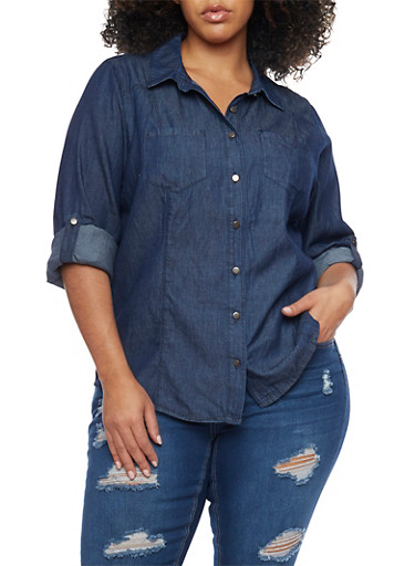 Plus Size Denim Button Up Top with Pockets,NAVY,large