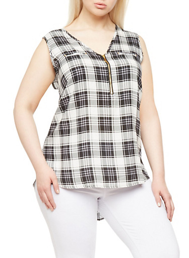 Plus Size Plaid Tank Top with Zipper Neckline and Faux Pockets,BLACK,large