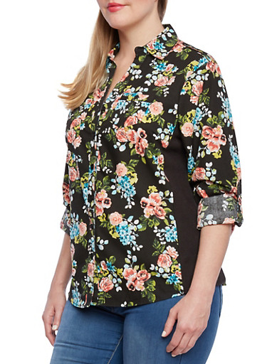 Plus Size Floral Print Blouse with Button Front and Solid Side Panels,BLACK,large