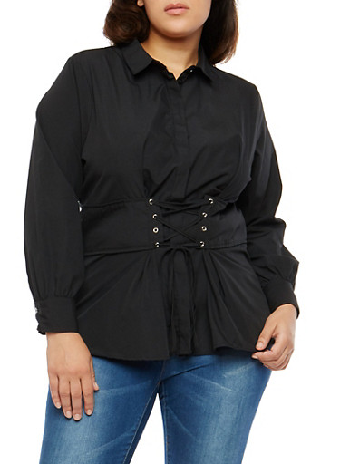 Plus Size Corset Waist Button Front Shirt,BLACK,large